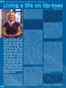 Interview with Linda Štucbartová titled Living a life on tip toes in Czech & Slovak Leaders Magazine, November – January / 2016 Issue