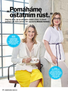 Interview with Linda Štucbartová and team titled Pomáháme ostatním růst. in Cosmopolitan Magazine, April 2018